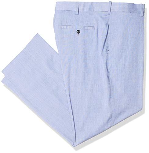 Savane Men's Flat Front Performance Linen Pant, Sky Blue, 36W x 30L