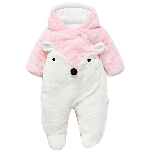 Fairy Baby Baby Boy Girl Winter Flannel Bunting Outfits Romper Outwear,3-6M,Pink Fox for $<!--$28.86-->