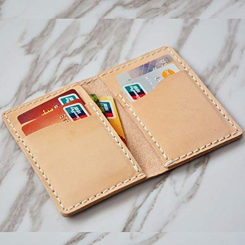 (Mens Slim Leather Front Pocket Wallet Personalized Minimalist Credit Card Holder Case Custom Thin Vertical Bifold Gift For Him Best)