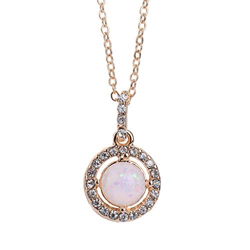 Onefa Creative New Trend Necklace, Women Girls Fashion Simple European and American Trend Wild Simple and Generous Geometric Round Diamond Gemstone Necklace Ladies Jewelry (Gold)