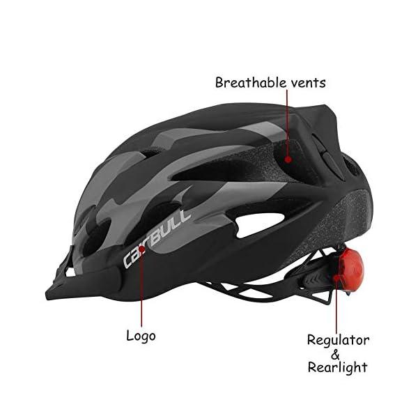earlyad Casco per Bicicletta Protezione di Ciclismo sicura Regolabile Ventilazione del Casco Copricapo da Motociclista con luci per Casco da Bici per Adulti 3 spesavip