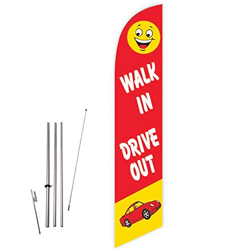 Cobb Promo Walk in Drive Out (Red) Feather Flag with Complete 15ft Pole kit and Ground Spike