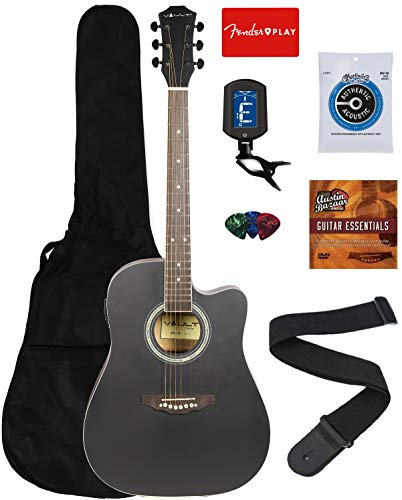 Vault EA10CEQ 41-Inch Dreadnought Cutaway Acoustic-Electric Guitar – Black Bundle with Gig Bag, Tuner, String, Picks, Strap, Fender Play Online Lessons, and Austin Bazaar Instructional DVD