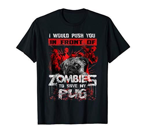 Cute Pugs Halloween T-Shirt Funny Pug Zombie Gift Shirt -