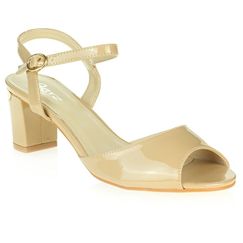Beige Damas LONDON Sandal AARZ Fiesta Tamaño Medium Para mujer Block Casual Sparkly Heel Shoes Zt41qxO4