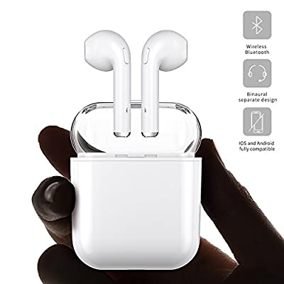 YEMON Bluetooth Headphones, licheers Mini Wireless Sports Earphone/Stereo-Ear Sweatproof Earphones with Noise Cancelling and Charging Case Fit for IOS and Android