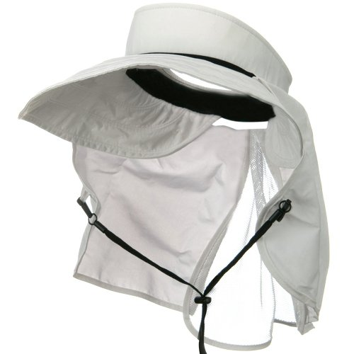 UV 50+ Talson Visor with Flap - White (Wired Nylon Hat)