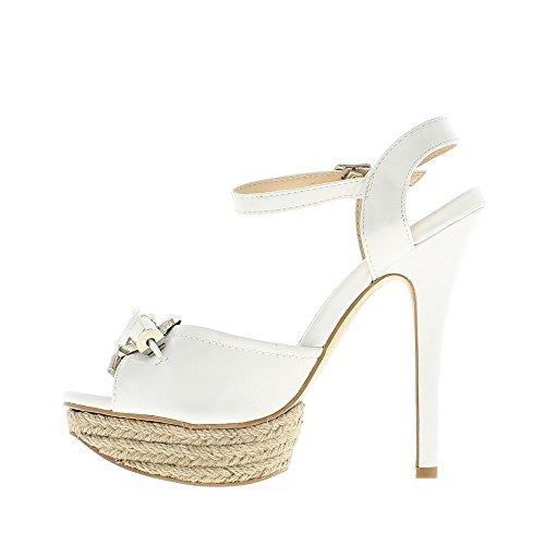 Fine bianco sandali aperto tacco 13cm e piattaforma