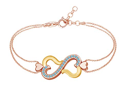 AFFY Round Shape Simulated Blue Topaz Two Tone Infinity Heart Link Chain Bracelets in 14k Rose Gold Over Sterling Silver -8.5