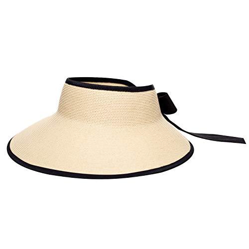 Pineapple&Star Vienna Visor Women's Summer Sun Straw Foldable Hat UPF 50+ (Black) ()