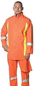 Superior Glove Works RAIN045FR Hi-Viz Flame-Retardant Reflective PVC Rainsuit with Snap on Hood and Bib Overalls, 3X-Large orange
