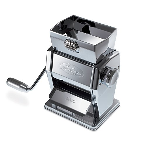 Marcato 8346A Atlas Marga Grain Mill Cereal Flake Maker, Made in Italy, Chrome-Plated Steel, 6.5 x 5.5 x 8.5-Inches