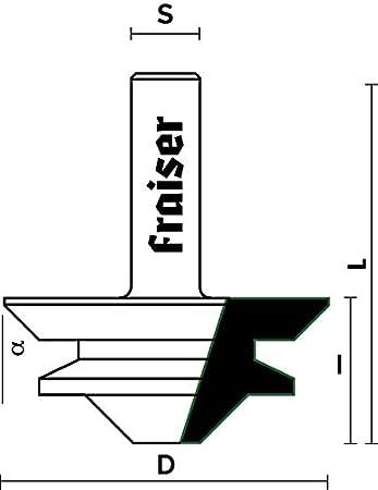 Fresa x Giunzioni Z=2 Tipo 4 90/° Gradi HW per Legno da Fresatrice Verticale D 44.5 // I 20 // S 12 Codolo 12 mm Frese Fraiser