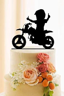 Decoración para tarta de bicicleta, decoración de cumpleaños, nombre personalizado y edad, decoración para tartas y bicicletas de montaña, decoración para pasteles: Amazon.es: Hogar