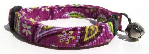 Breakaway Cat Collar in Purple Paisley Corduroy (Handmade in the -