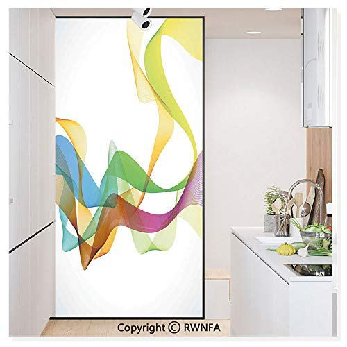 - Non-Adhesive Privacy Window Film Door Sticker Artistic Wavy Ribbon Line and Smoke Rainbow Like Cool Graphic Artwork Glass Film 23.6 in. by 78.7in. (60cm by 200cm),Multi Colored