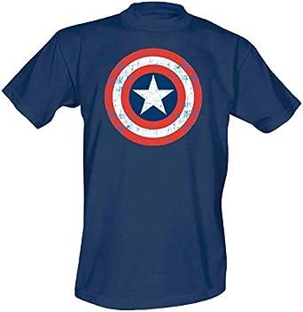 Capitán América - camiseta con el escudo - cómic de Marvel - estampado grande y de calidad - azul - XL: Amazon.es: Ropa y accesorios