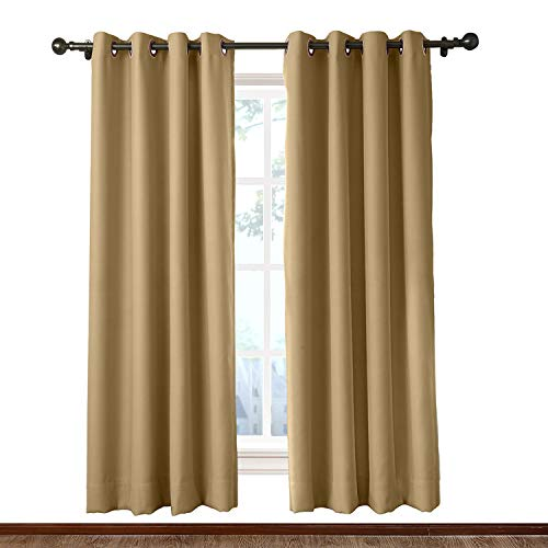 Macochico Room Divider Curtains Wheat Privacy Protection Noise Reducing Lightproof Blackout Curtains Antique Bronze Grommet for Patio Living Room 8ft Wide x 8ft Height (1 (Wheat Bamboo Curtain)