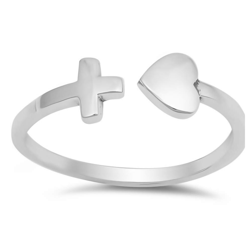 Glitzs Jewels 925 Sterling Silver Ring Cute Jewelry Gift for Women in Gift Box Heart /& Cross