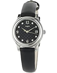 Timex Womens T2N450 Elevated Classics Swarovski Crystals Black Leather Strap Watch