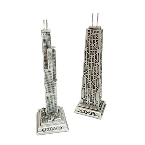 Chicago Pewter-look Statue Collectors Gift Set of 2 - Willis (Sears) Tower and Hancock Building - Hancock Tower