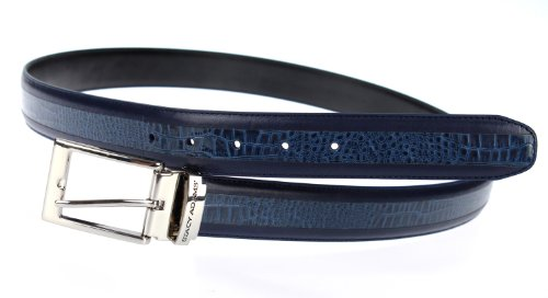 Stacy Adams 6-203 Smooth Grain Leather with Croco Embossed Center Detail Mens Adjustable Belt, Polished Nickel Buckle (Navy) ()