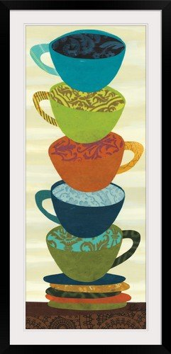 "GreatBIGCanvas ""Stacking Cups II"" Jeni Lee Photographic Print with Black Frame, 19"" x 48"""