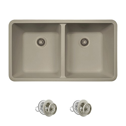 802 Double Equal Bowl Quartz Kitchen Sink, Slate, Colored Strainers