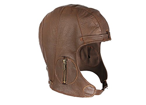 WWII Replica Vintage Brown Leather Aviator Pilot Helmet Cap XL/2XL