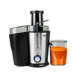 Juice Extractor, BESTEK Fruit and Vegetable Juicer Machine with Juice Cup and Cleaning Brush, Stainless Steel, Dual Speed - 400W