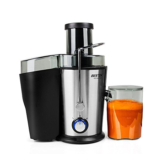 Juicer Machine, BESTEK Fruits Vegetables Juice Extractor with Juice Cup and Cleaning Brush, Stainless Steel, Dual Speed- 400W