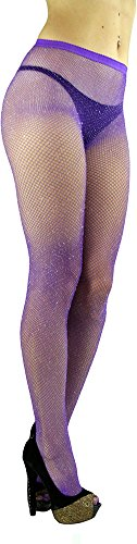 ToBeInStyle Women's Spandex Seamless Glittery Fishnet Pantyhose Tights Hosiery - Purple with Silver Glitter - One Size: (Lycra Fishnet Pantyhose)