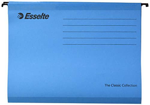 Esselte Suspension Files - Esselte Classic Reinforced Suspension File, A4, Pack of 25, Tabs Included, Blue, 90311