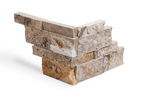 Natural Stone Panel (Valencia Travertine Stacked Ledger Wall Panel Tile Corner, Split-faced (5 PCS.))
