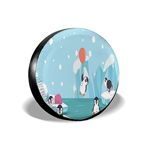 GULTMEE Tire Cover Tire Cover Wheel Covers,Lovely Penguins On Ice Glaciers Cute Funny Animal Characters Print,for SUV Truck Camper Travel Trailer Accessories(14,15,16,17 Inch) 16