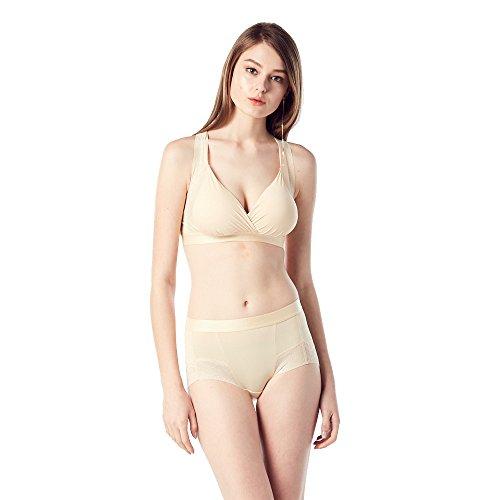 Bonnie de' Connie Women's Seamless Comfortable Bra Full Coverage Lace Trim Racerback Wirefree Bralette, XL, Nude Torso Trim Bra