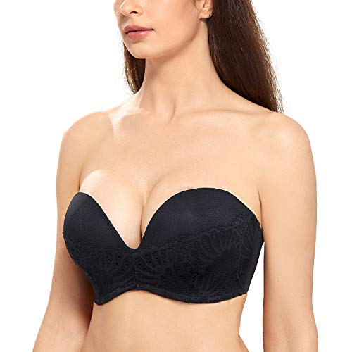 DELIMIRA Women's Slightly Lined Great Support Lace Underwired Strapless Bra Black 32C ()