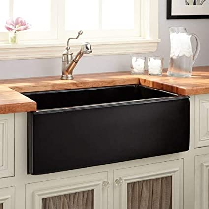 Signature Hardware 420791 Mitzy 30u0026quot; Single Basin Fireclay Reversible Farmhouse  Sink With Smooth Apron