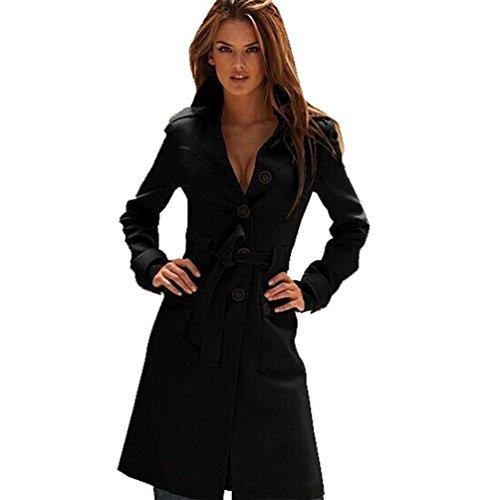Femmes Slim Jitong Outwear Noir Manteau Col Manches Longue Veste Blouson Trench Jacket Revers dxwCqXO