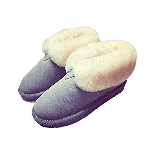 Tjur Titan Kvinnor Mocka Boots Shearling Fodrad Motståndskraftigt Vintern Snö Stövlar Grå