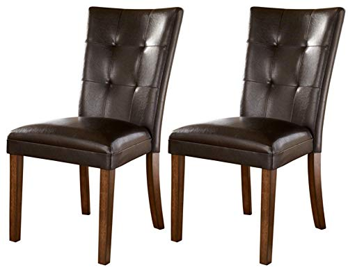 - Ashley Furniture Signature Design - Lacey Dining Side Chair - Set of 2 - Medium Brown Finish