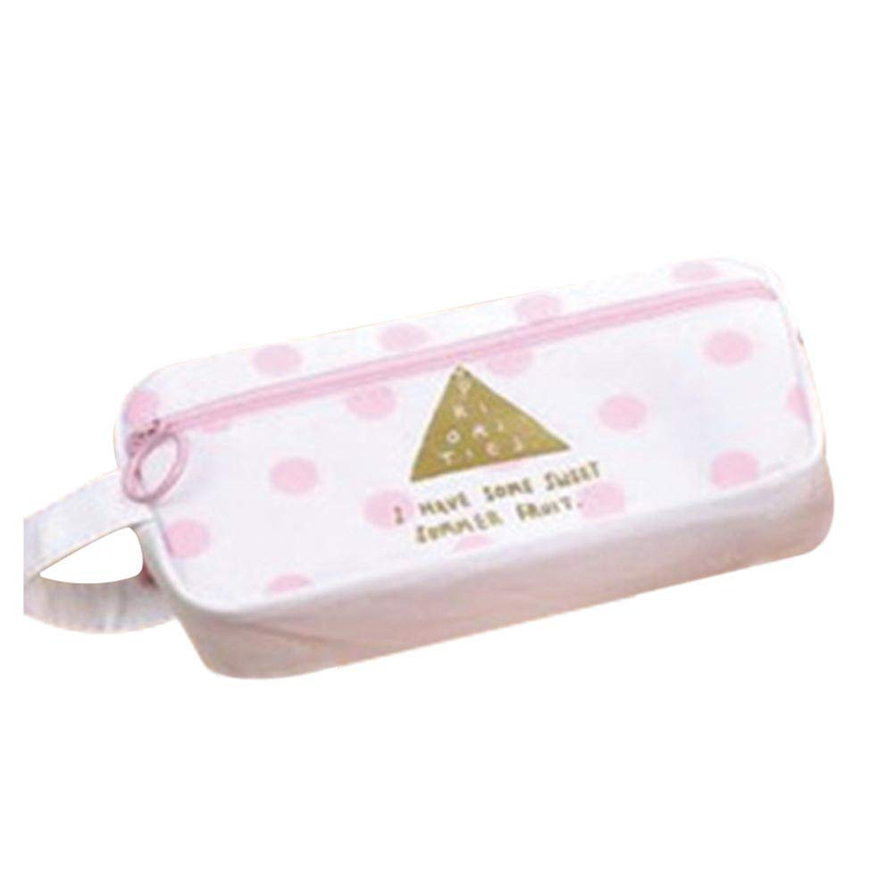 Yevison Premium Quality Pink Portable Pencil Case Canvas Stationery Creative Large Capacity Pencil Bag Primary and Secondary School Pencil Case