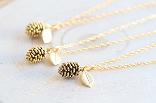 Filled Cones (Olive Bella Handmade Mini Leaf Pinecone Necklace Jewelry (14K Gold Filled Chain, 16 inches long))
