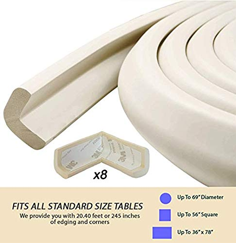 Corner Guards and Edge Bumpers - 5m/20ft [ 16.5ft Edge Cushion + 8 Corner Cushion] Furniture Bumpers & Corner Cover; Baby Proofing Edge Desk Table Protector; Fireplace Guards for Child Safety (White) by E-Living (Image #6)