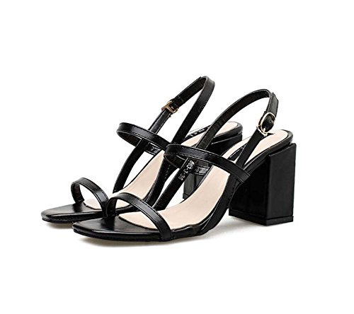 Tamaño D'orsay puro Negro OL Shoes cinturón Toe Simple Court Roma Eu 8 Shoes Chunkly Heel color Slingbacks Zapatos Pump Open Mujer 5cm Hebilla 40 34 Casual Sandalias de SPAwx6nq
