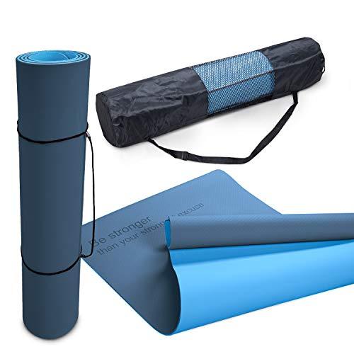 Yogamat Sportmat Anti-Slip Afwasbaar 8mm Dikte Tweekleurig Spreuk Tas Draagriem, Maat:61×183 cm, Kleur:Donkerblauw Blauw