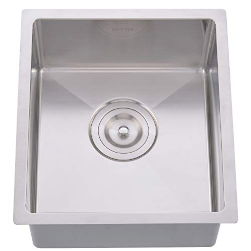 Hotis Commercial Single Bowl Stainless Steel 16 Gauge Drop In 14 7/8 x 17 1/4 Inch Undermount Square Small Prep Kitchen Bar Sink,Bar Sink With Strainer (Compact Bowl Single)