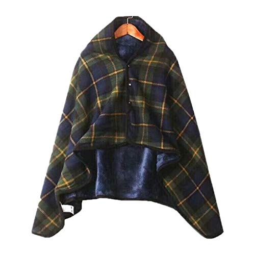 HBOS Travel Throw Blankets Lightweight Plaid Pattern Shawl Soft Flannel Blanket Plush Sofa Bed for Rest Dark Green