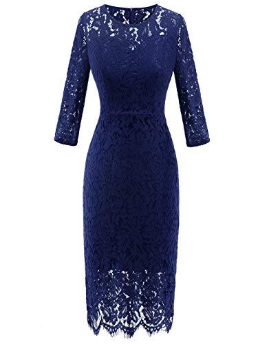 FAIRY COUPLE Womens Knee Length Slim Lace Floral Elegant Dress Formal Evening Party DL035(XL,Navy Blue)