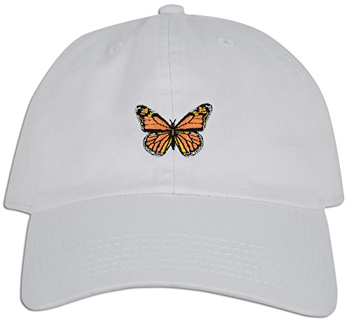 JLGUSA Monarch Butterfly Embroidered Dad Cap Hat Adjustable Polo Style Unconstructed (White) ()